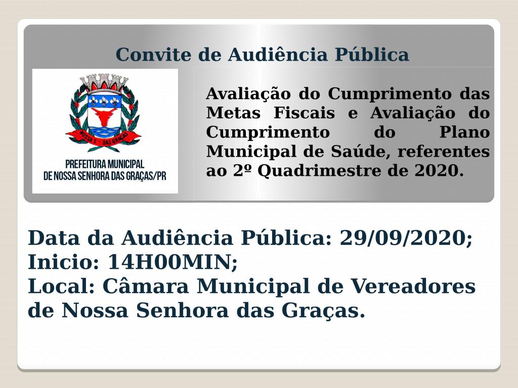 AUDIÊNCIA PÚBLICA PARA AVALIAÇÃO DO CUMPRIMENTO DAS METAS FISCAIS DIA 29/09/2020